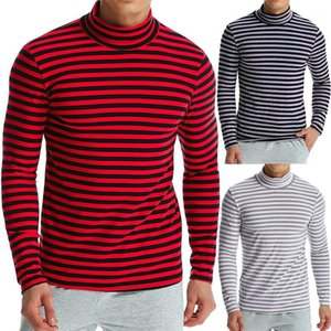 Kasetli Doğal Renk Tshirts Casual Standı Yaka Uzun Kollu Erkek Tees Erkek tişörtleri Moda Striped Render