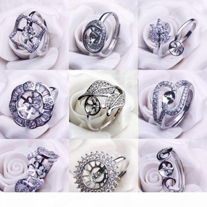 NEW 보석 진주 크기 조절 결혼식을 위해 DIY 반지 진주 반지 설정 여성 925 실버 반지 설정 지르콘 4 세트에 적합