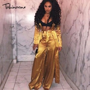 Tobinoone New Sexy Two Piece Set Casual Crop Top Two Piece Outfits Autumn Long Trench Coat Three Set Tracksuit Women