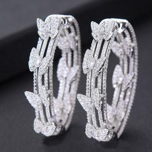 GODKI luxe Papillon cubique Zircon Déclaration Big Boucles d'oreilles pour les femmes de mariage DUBAI Cercle ronde de mariée Boucles d'oreilles 2019 CX200801