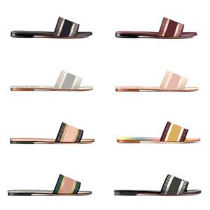 Les femmes DWAY Diapo Slipper Designer plat brodé Coton Tige en cuir Semelle Imprimé Sandales flip plat Flops plage de cause à effet chausson avec la boîte