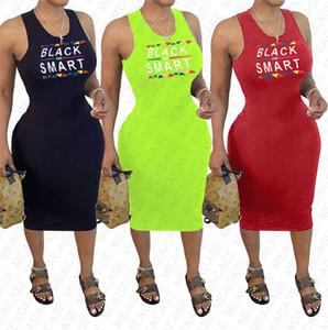 2020 Женских летнего платье ЧЕРНОГО SMART Письмо Printed Sexy Bodycon платье без рукавов Пляж Повседневного Luxury плиссированных платьев Одежды S-XXL D7608