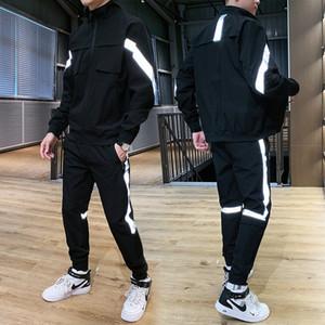 Männer Streetanzug Harajuku Jogger Klage-Sätze Reflektierende 2020 New Hiphop 2 PCS Hoodies + Pants Sporting Herrenkleidung