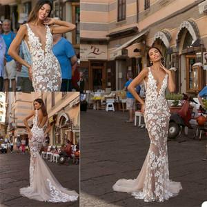 Sexy Berta 2021 Mermaid Backless Wedding Dresses Illusion V Neck Lace Appliqued Beaded Wedding Dress Bridal Gowns robes de mariée