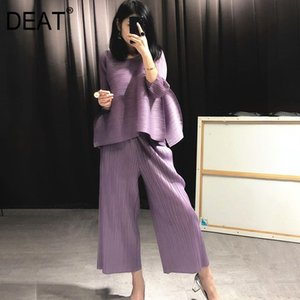 DEAT 2020 New Summer Fashion Women Clothes Round Neck Sleeveless Pullover Dress And Wide Pleated Legs Pantes Vintage Set AT427