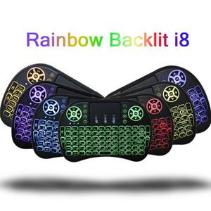7 Цветовая подсветка I8 мини-испанской беспроводной клавиатуры мыши 2.4GHz USB-клавиатура для ноутбука Smart TV Английский русский с сенсорной панелью