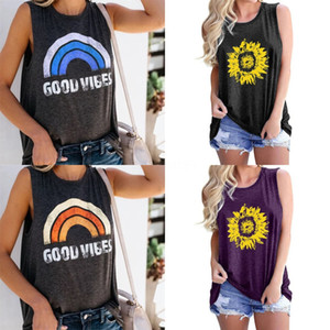 Womens Designer Dress Summer Ins Super Fire Sprout Strip Reflective Printing Small Character Sleeveless T-Shirt Female#990