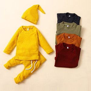 Autumn Clothes Newborn Solid Knitting Clothing Sets Long Sleeve Tops + Pants + Hat 3pcs set Baby Outfits Infants knitted Clothes M2265