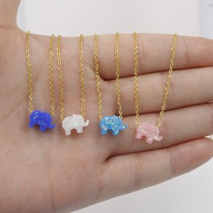 Gros Opal Mini Elephant Colliers en pierre Pendentifs Charms Collier plaqué or chaîne en acier inoxydable Choker Pour Femmes Filles Bijoux cadeau