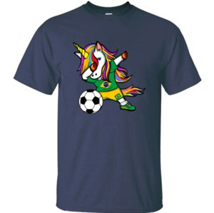 Printing new Dabbing Unicorn Brazil Soccer Jersey 2019 t shirt boy girl Natural mens t-shirts size S-5xl Graphic Top Quality