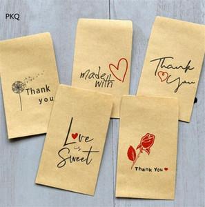 20PCS 파티는 손님 2qDs #위한 최고의 선물 가방을 부탁 파우치 공예 종이 안전 가방을 포장하면 작은 종이 봉투 감사