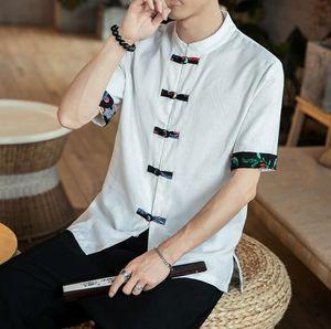 Verano chino Tang traje de lino de la vendimia collar Stiching camisas Vestido tradicional china Hombres Top Hanfu la blusa
