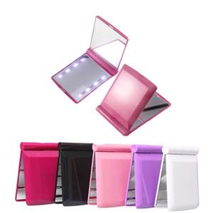 Складная светодиодные лампы зеркало для макияжа тщеславия Освещенные Макияж Зеркала Зазеркалье Square Compact Cosmetic Декоративное Портативный карманный 8md C2