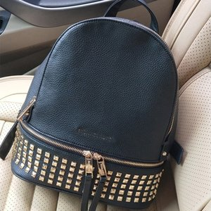 Leather luggage tag 2020 New Backpack PU Litchi Pattern Leather Women's Bag Studded Women's Backpack Korean Wild Travel Bag