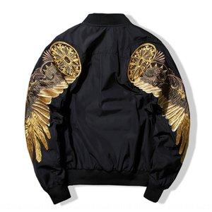 золотые крыла J6bbP пальто мужских вышивка Harajuku стиль MA-1 пилот куртка Baseball костюма наряд пар износ моды бренд пар износ basebal