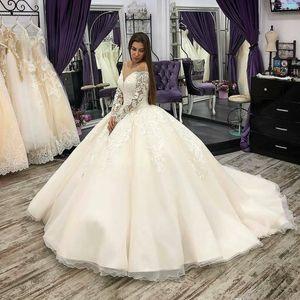 Gorgeous Princess Ball Gown Wedding Dresses Dubai Arabic Sheer Neck Long Sleeve Applique Bridal Dress Lace Vestido De Novia
