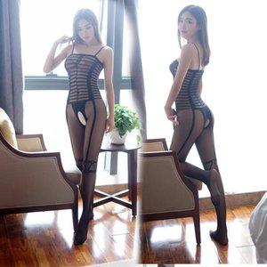 Baihua слинга сексуальная перспектива Pantyhose Angel полосатые носки интерес свободное открытие искушение слинга Комбинезон носки женские 353