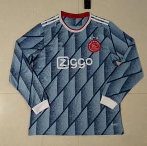 Hombres Niños Ajax 2021 Home Away Jersey Manga larga Maillot Ajax Kit de fútbol Jersey Haller Huntelaar Promes Tadic Neres 20 21 Camisa de fútbol