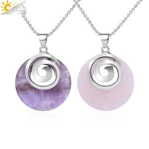CSJA Natural Stone Necklaces & Pendants Hollow Round Spiral White Crystal Black Agates Lava Chakra Reiki Pendulum for Girls F864