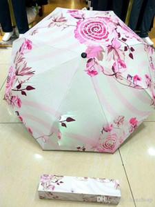 Classic CC Umbrella 3 Fold Full-automatic Flower Umbrella&Parasol with Gift Box for VIP Client