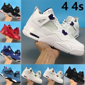 NUEVA llegada 4 4s Jumpman zapatos para hombre de baloncesto criados OVO salpicadura de metal Encore púrpura gato negro criado hombres entrenador de las zapatillas de deporte de Estados Unidos 7-13