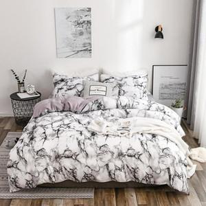 50High Qualité Imprimé Consolateur Literie Couple moderne Ensemble de lit en coton Housse de couette Taie marbre Beding Set