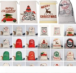 Christmas bags Large Canvas Monogrammable Santa Claus Drawstring Bag With Reindeers Christmas Gifts Sack Storage Bags Christmas Decorations