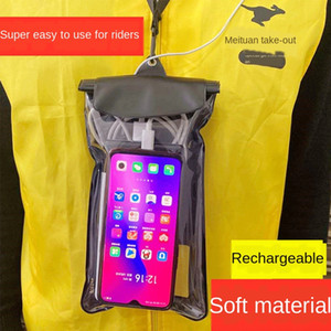RkmR7 Mobile waterproof bag rechargeable headset Waterproof bag mobile phone headphone for Knight model rainy day equipment PTU three-layer