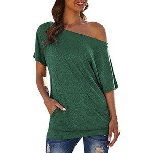 Women's t-Shirt Solid Color Slip Pocket Oblique Shoulder t-Shirt Loose Simple Off-Shoulder Pocket Top Saco