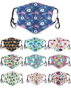 Kinder-Maske mit Fliter Einstellbare elastischen Earloops wiederverwendbarer Gesichtsmasken Cotton-Muster-Druck-Tuch-Gesichtsmaske