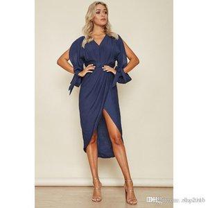 Toptan kadınlar asimetrik Peplum elbise Hem Twil Kurdele V yaka Elbiseler etek Beden S-XL D3 pilili Long'un sleevel Sling Lady Long çarpıntı