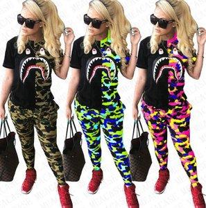 Женщины Акула костюмы Камо Color Лоскутной Tshirts + Камуфляж гетры Брюки нарядов дизайнера Пот костюм из двух частей одежды S-2XL D72708