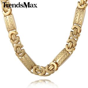 Trendsmax 11мм мужских цепи ожерелье золото цвета византийская Link нержавеющая сталь ожерелье KN272