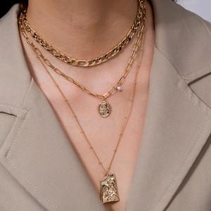 Collier avec pendentif pour les femmes d'or en métal chaîne multicouche Colliers Bijoux Collier ras du cou Bohème Lettre Coin CNY2225