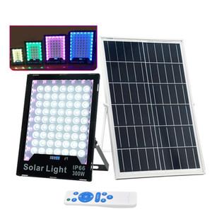 LED Solar Lights Solar Powered Flood Light RGB Floodlight Outdoor IP65 Light Spotlight with Remote Control for Barn,Lawn,Flag Pole
