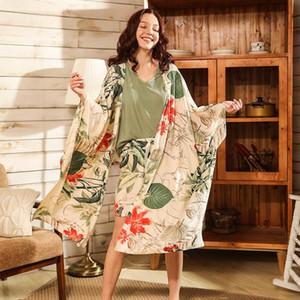 Women Fresh Style 4Pcs Pajama Set Soft Wide Sleeve Loose Cardiagn+Vest+Shorts+Pants Sleepwear Suit Ladies Homewear Casual Wear Y200708