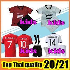 Детские наборы + носки 20 21 Ренн футбол Джерси Главных прочь трикотажные изделия 2020 2021 Rennes Майо De Foot Enfant Футбол наборы