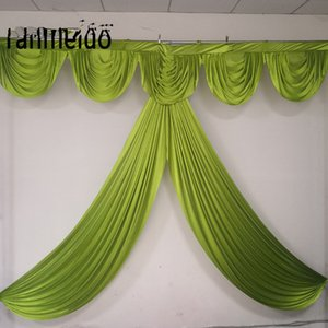 3M 20ft width Custom color Ice Silk drape swag decoration for event party eedding backdrop curtain swag for stage background