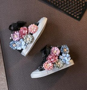 High Top Flower Girls Canvas Shoes Beading Kids Shoes 2019 Autumn Children's Shoes Korean Casual Sneakers Sider Zipper T200708