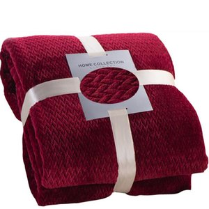 Autumn Winter Thick Coral Velvet Blanket Solid Color Double-sided Flannel Cover Blanket Mesh Lattice Air Conditioning