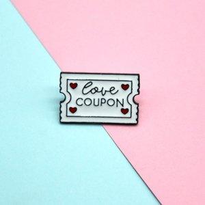 Nette Liebes COUPON Kleine lustige Emaille Broschen Pins für Frauen-Mädchen-Männer Weihnachtsgeschenk Demin Hemd Dekor Brosche Metall Kawaii Abzeichen
