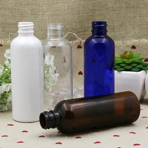 100ml botella plástica y estética blanca vacía Ámbar Claro Líquido de prueba Botella Prensa casquillo redondo de fondo del recipiente de almacenamiento Embalaje LJJP261