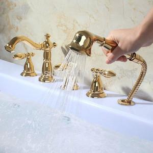 높은 품질의 고급 황동 5PCS 로마 욕조 샤워 수전 광범위한 골드 데크는 고급스러운 폭포 욕조 믹서 탭 탑재