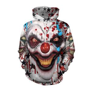 Men's Halloween clown 3D print horror Hooded Sweatshirt long sleeve Pullover women's loose Hoodie Wei clothing