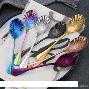 Shell Spoons Color Creative Stainless Steel Spoon Coffee Stirring Spoon Cute Shell Ice Cream Spoon Sugar Spoons