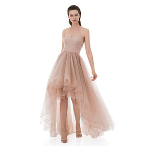 High Low Prom Dresses Tulle Junior Homecoming Dresses Hi lo Halter Beaded Sweet 16 Dress Front Short Back Long Evening Cocktaill Party Dress