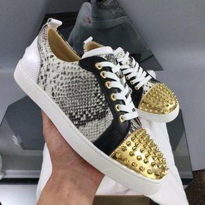 Altın Dikenler Erkekler Sneakers Ayakkabı Kırmızı Alt Düşük En Genç Kadın Kırmızı Sole Ünlü Tasarımcı Marka Casual Yürüyüş ile Python Deri