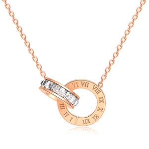 set di gioielli di lusso gioielli di design per le donne rosa color oro doppi anelli earings set in acciaio collana di titanio fasion caldo