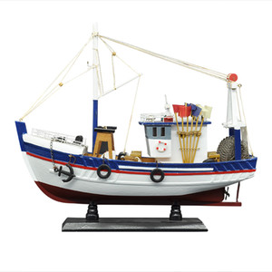 LUCKK New 38CM White Fishing Boat Ship Model 3D Wooden Assembly Sailboat Toys Home Decoration Accessories Modern Sailing Boats T200703