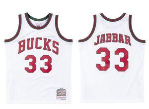 Erkekler basketbol MilwaukeeBucks33 KareemAbdulJabbar Mitchell Ness 1971-1972 beyaz Hardwoods Classics Otantik Jersey